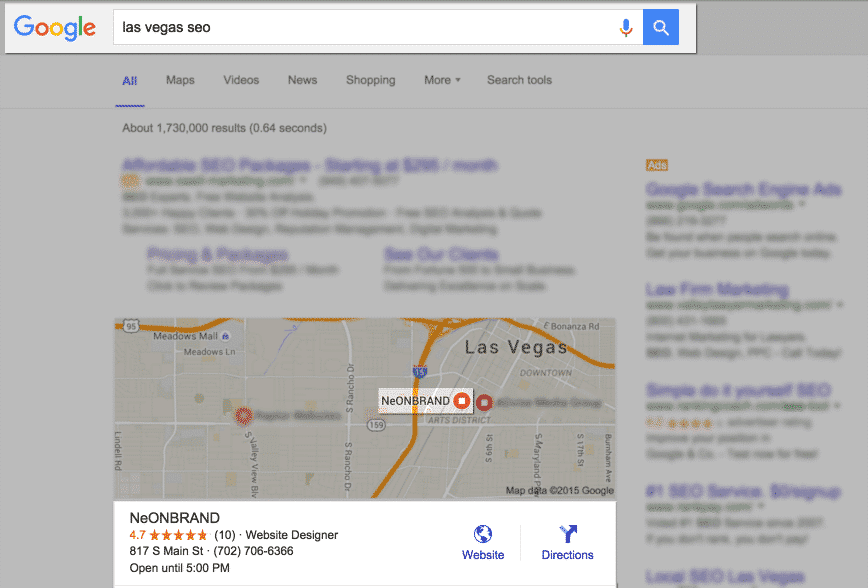Google Search of Las Vegas SEO - NeONBRAND