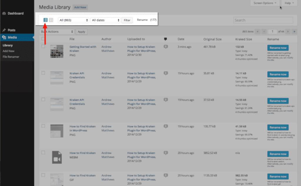 Wordpress media gallery in list format