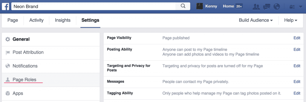 Facebook Admin Settings Page Roles