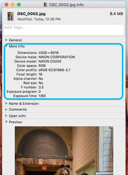 Example EXIF Data