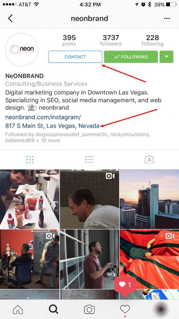 Instagram for Business Contact Button and Address