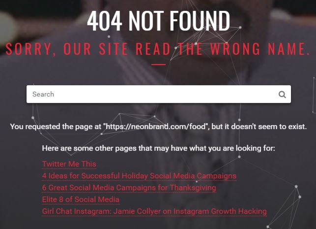 NeONBRAND's 404 page is fully optimized for SEO and user experience